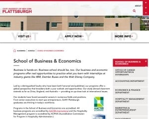 School of Business and Economics at State University of New York College at Plattsburgh MBA Program in Plattsburgh, NY