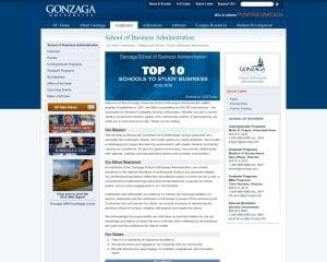 School of Business Administration at Gonzaga University MBA Program in Spokane, WA