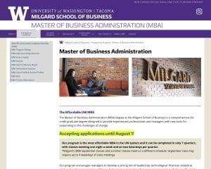 Milgard School of Business at University of Washington Tacoma MBA Program in Tacoma, WA